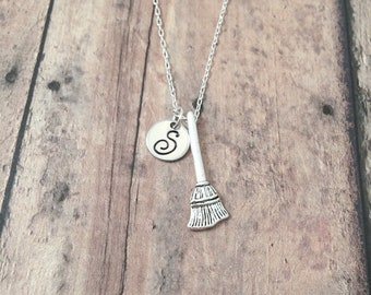 Broom initial necklace - broom jewelry, witch necklace, silver broom pendant, whisk broom jewelry, witch jewelry, Halloween necklace