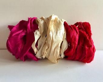 Silk Sari Ribbon-Magenta, Antique White, Red Recycled Sari Ribbon-9 Yards