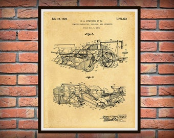 Patent 1929 Combine Harvester Thrasher Patent Print - Agriculture Wall Art - Tractor - Farming - Farm Equipment Patent