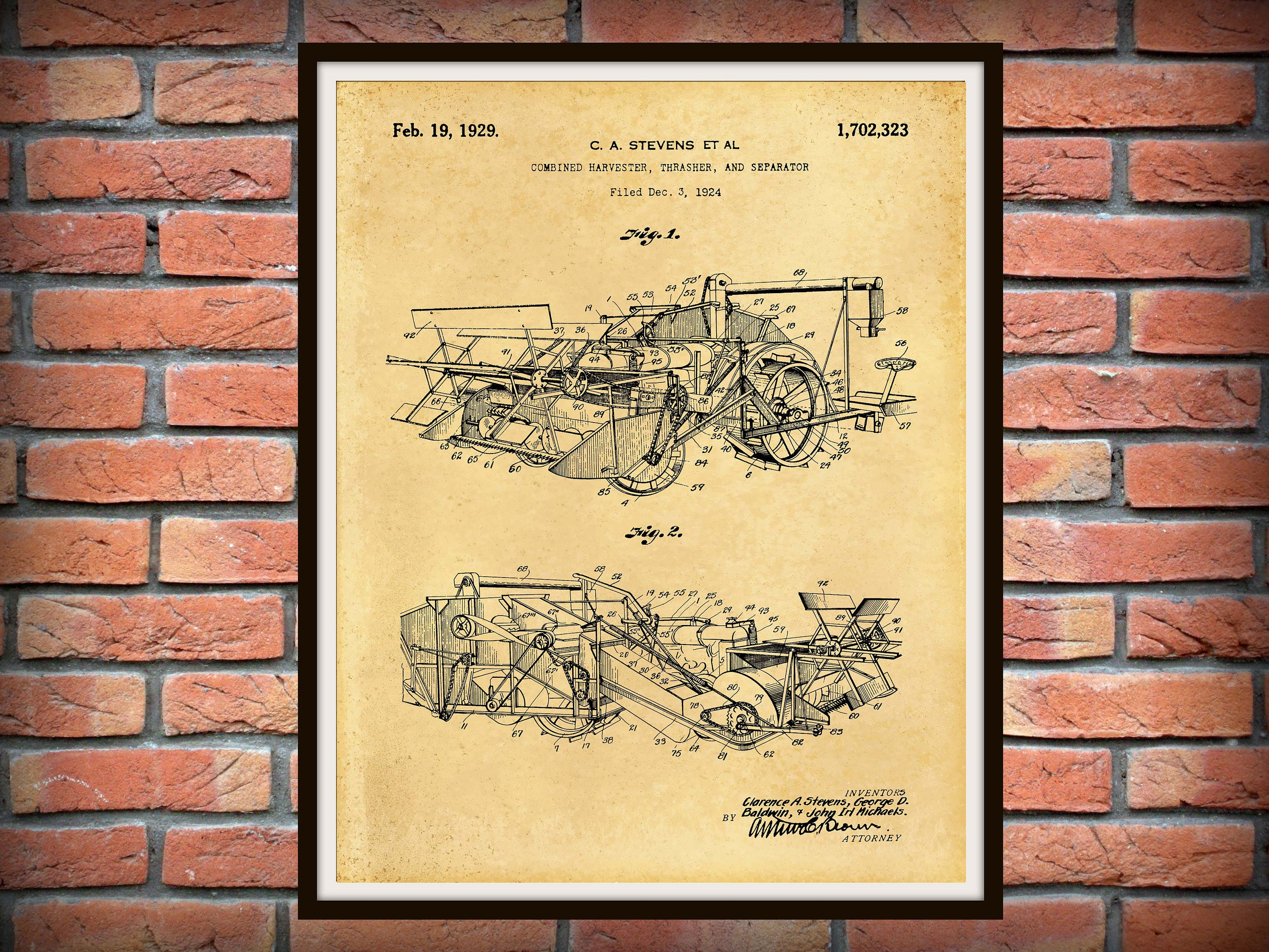 Patent 1929 Combine Harvester Thrasher Patent Print - Agriculture ...