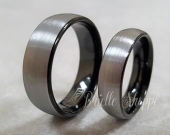 Tungsten Wedding Band Set, Tungsten Ring, Men's Tungsten Wedding Band, Black Tungsten Ring, Wedding Band, Tungsten, Couples Ring Set