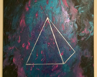 "20"" x 20"" Acrylic Painting: ""Space Pyramid"""
