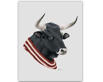 Bull print 8x10 - Animal art - Animal prints - Farm Animals - Dapper Animals - Cow - Ferdinand relative- Ryan Berkley - Berkley Illustration