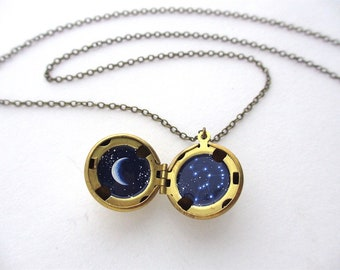 Orion Mini Oil Painting, Constellation and Crescent Moon, Free Shipping on Water-Marked Brass Lockets