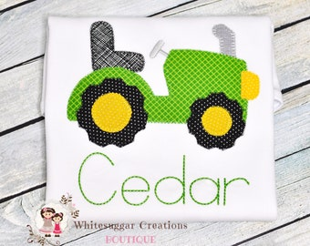 Boy Tractor Shirt - Vintage Stitches Tractor Outfit - Boy Farm Shirt, Embroidered, Personalized, Monogrammed, For Toddlers