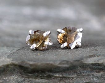 Diamond Slice Earrings - Rustic Diamond Earring - Sterling Silver Handmade Stud Earring - Rough Diamond Jewellery - Organic Shape