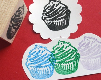Cupcake Rubber Stamp // Cake rubber stamp // Bakery Stamp - Handmade rubber stamp by BlossomStamps