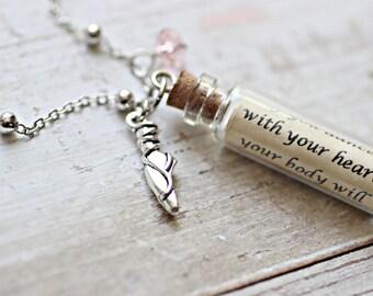 Dancer Necklace, Dancer Jewelry, Ballet Shoes, Ballet Necklace, Personalised Necklace, Friendship Necklace, Message In A Bottle Wholesale