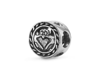 Claddagh Charm Bead Sterling Silver Claddaugh Heart Crown Hand Celtic