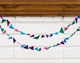 jewel (confetti) -- felt garland // purple green blue burgundy jewel tone, triangle garland, girl room, nursery, birthday, baby shower