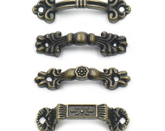 10 Pcs Antique Brass Jewelry Box Drawer Cabinet Cupboard Door Wine Handle Pull Knob With Screws