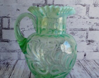 "Jefferson Glass Co. Buttons and Braids, Green Victorian Glass Pitcher, Antique Pitcher, Treasury Item, 9"" Tall, Beau"