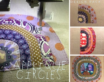 Big Design Pack - Appliqué Circles, Raw Style Machine Embroidery, 9 Colourful Patchwork Circle designs for Fabric Lovers: Quarter/Half/Full