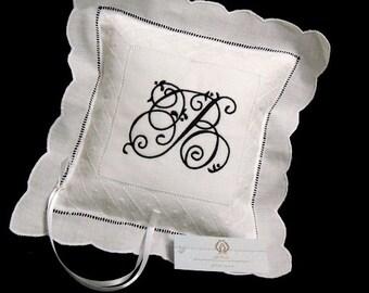 Monogrammed Irish Linen Ring Bearer Pillow, Style 8634