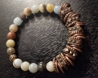 Amazonite (simulated) Beads with Copper Accents