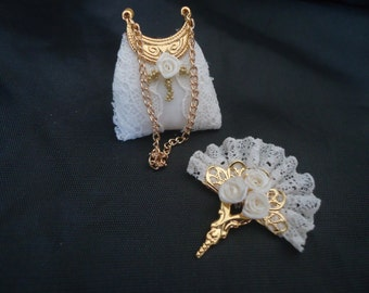 Bridal lace fan & purse 1/12th scale.