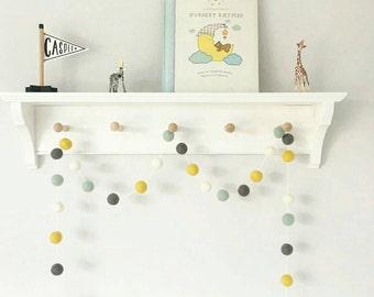 Gender Neutral Felt Ball Garland, Duckegg, Mustard White and Grey Pompom Garland, Eco-friendly Baby Gift, Kids Room decor, Baby Shower Decor