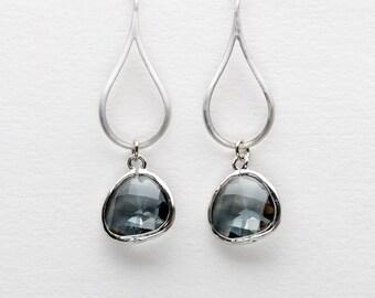 Charcoal Ocean Drop Earrings, Gray Earrings, Dangle Earrings, Wedding Jewelry, Bridesmaid Jewelry, Mother's Day