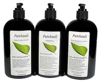 PATCHOULI Hair Conditioner, Liquid, Shampoo, Lotion, Essential Oil, VEGAN, Paraben Free, Homemade, Natural, 8oz, 16oz, Black Pump
