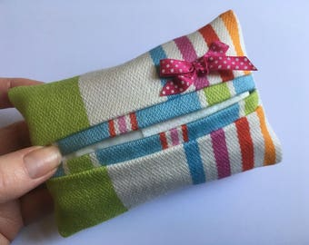 Tissue holder, Travel tissue case, Kleenex Cozy, Stripy tissue cosy, Striped pouch, Pocket tissue pouch, Upcycled fabric pouch, Pretty gifts