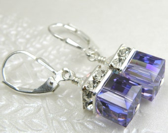 Swarovski Crystal Tanzanite Earrings, Purple Drop Earrings, Silver Purple Bridesmaid Gift, Bridal Party Earrings, Purple Wedding Jewelry