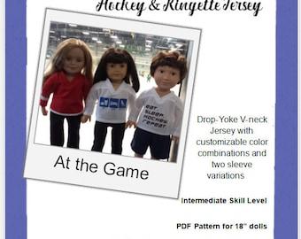 """Fan Favorite Hockey & Ringette Jersey pattern for 18"""" dolls"""