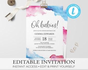Baby shower invitation, gender neutral,invitation, babyshower, watercolor Invitation, invitation template,printable invitation,gender reveal