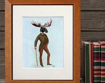 Moose print - Moose in Suit, Full - moose head moose art moose decor Cabin decor Cabin print cabin art ski lodge decor birthday gift for dad