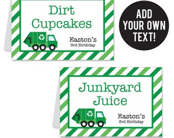 EDITABLE INSTANT DOWNLOAD Garbage Truck Party Buffet Cards - Editable, printable table tent cards