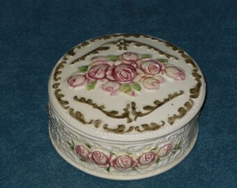 Ceramic Pink Rose Trinket Box Round with Lid Weiss Brazil Vintage Hand Painted