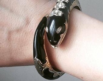 Vintage Enamel Serpent Bracelet