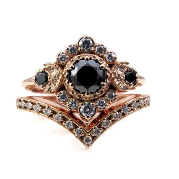 Rose Gold Moon Engagement Ring - Black and White Diamond Handmade Wedding Rings