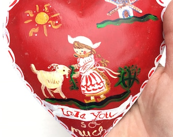 Red Metal Heart, Handpainted Heart Ornament , Cake Topper, Heart Ornament, Valentines Gift for Her, Baby Gift , Red Heart