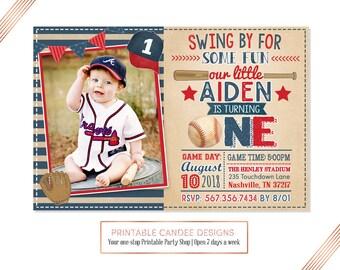 Baseball Invitation, Baseball Birthday Invitation, Baseball Invite, Baseball Birthday Party Invitation, Rustic, Digital File