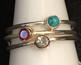 Ring in 925 sterling silver and turquoise, Garnet and Blue Topaz size 53