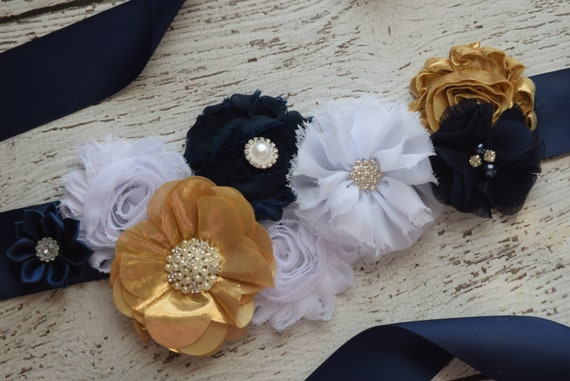 Maternity sash belt,Navy white gold Sash , sash,  flower Belt, maternity sash, baby shower gift
