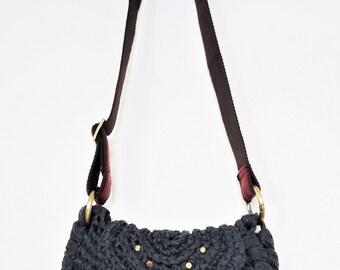 Crochet Handbag Knitted Rope Bag Grey Cross Body