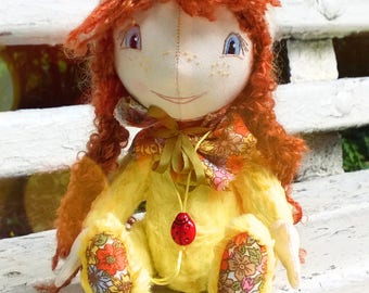 Teddy Doll Little Chicken / Interior Doll / Author Dolls / Soft Doll / 18 cm / Great Gift / Stuffed Doll / Home Decor / Yellow and Orange