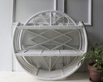 Round Rattan Wall Shelf  - White Vintage Wicker Wall Display Shelf