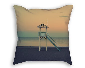 Beach Lifeguard Stand Throw Pillow, Full Print Photography Decorative Throw Pillow, Beach Scene Pillow