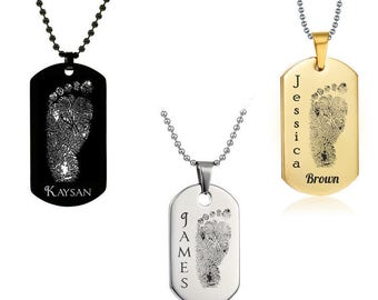 Personalized Baby Foot Print Dog Tag w/ Name - Laser Engraved Baby Foot Print Dog Tag