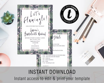 Let's Flamingle Bachelorette Party Invite | Invitation Template, Printable Invite, Instant Download, Easy to Edit, Templett