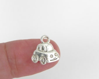 20 Car Charms in silver plating - 12mm x 12mm - double sided