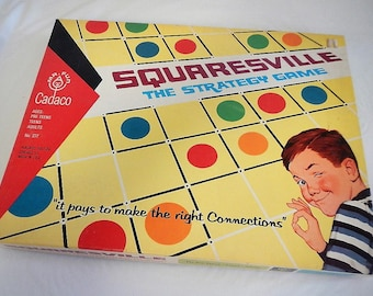 Vintage Squaresville Game - Cadaco, #277 - 1968 - strategy game, family game night, retro game, 2-4 players, teens, adults, connect boxes