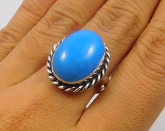 Blue Chalcedony .925 Silver Plated Ring Size 8 Jewelry JT359