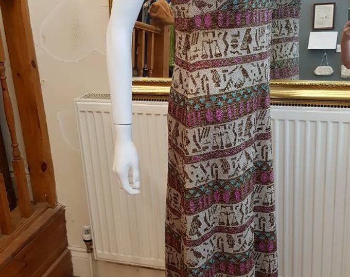 Stunning Vintage 1960s 60s Novelty Print Metallic Hieroglyphics Column Maxi  Dress M Egyptian