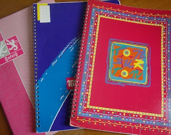 Set of 3 blank notebooks, books, incomplete, french Vintage 1980s