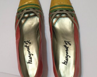 Bright Tropical Colors Vintage Margaret J Shoes~Size 9AA