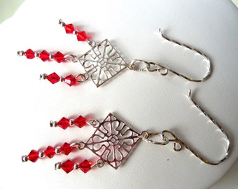 Sterling Silver Red Swarovski Crystal Earrings