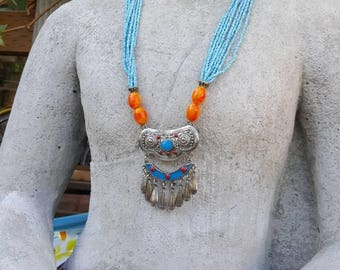 Bohemian Tribal Necklace /Beaded Boho Necklace/Turquoise and Orange/Enamled Necklace/Costume Jewelry/Indian Inspired Beaded Jewelry